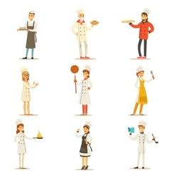 Professional cooking chefs working in restaurant vector