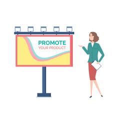 Promote advertisement woman showing billboard vector
