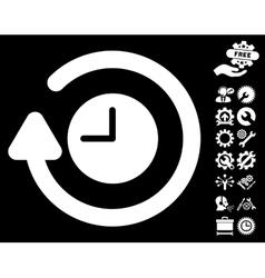 Repeat Clock Icon with Tools Bonus vector image