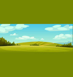 Rural landscape panorama green fields blue sky vector