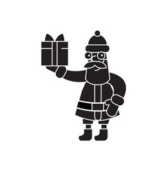 santa claus with a gift black concept icon vector image