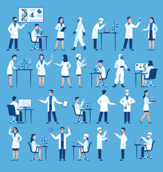 scientists characters doctors group in science vector image