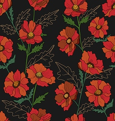 Seamless pattern with poppy in black vector