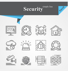 security outline icon set isolated vector image