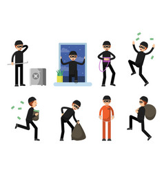 set criminal characters isolate on white vector image