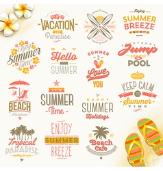 set summer holdays vacation and travel type vector image