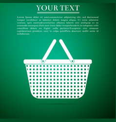 shopping basket icon isolated on green background vector image