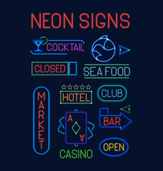 Signs neon set neon colorful electric pointers vector