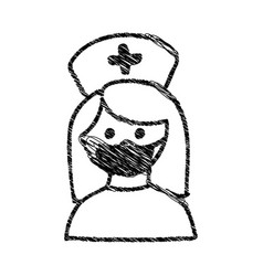 Silhouette drawing half body nurse with mask vector
