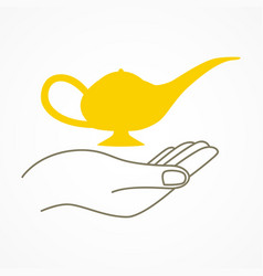 simple graphic of a hand holding a magic lamp vector image