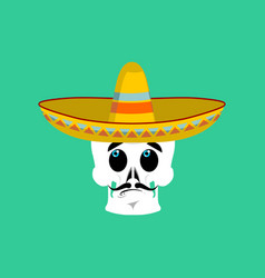 skull in sombrero surprised emoji mexican vector image