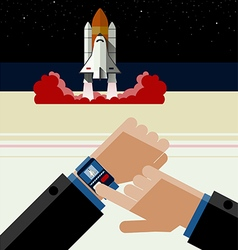 Smart Watch and the Space Shuttle vector