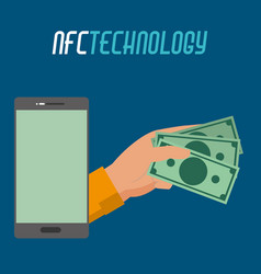 Smartphhone technology and hand with bills money vector