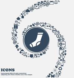 Socks icon in the center around the many beautiful vector