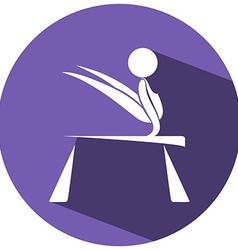 Sport icon for gymnastics on round badge vector image