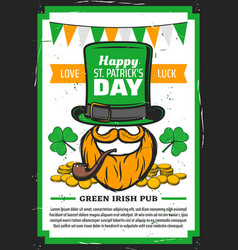 st patricks day leprechaun with clover hat gold vector image