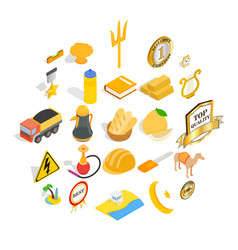 Successful person icons set isometric style vector