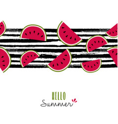 Summer quote watermelon pattern design card vector