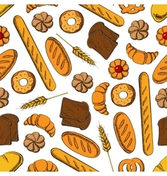 Sweet pastry and bread cartoon seamless pattern vector image