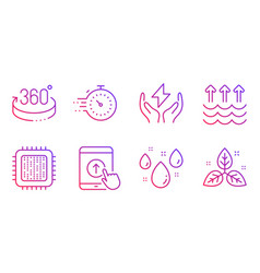 Swipe up 360 degrees and evaporation icons set vector
