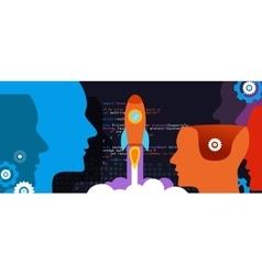 Tech start-up technology programming launch rocket vector