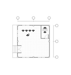 Top view black and white outline drawing office vector