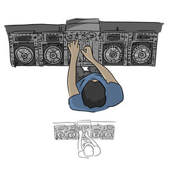 top view hip hop dj scratches turntables vector image