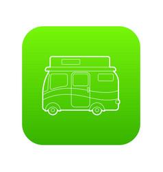 traveling camper van icon green vector image
