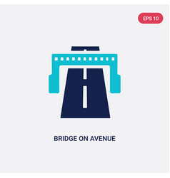 Two color bridge on avenue perspective icon from vector