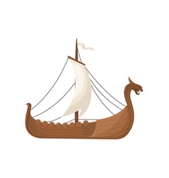 Viking scandinavian draccar with hite sails vector