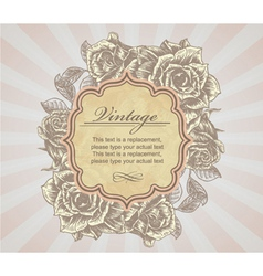 vintage label with roses vector image