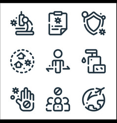 virus infection line icons linear set quality vector image