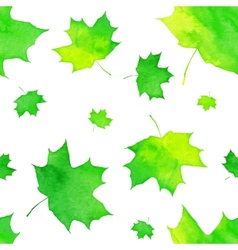 Watercolor painted green maple leaves pattern vector
