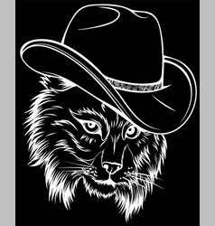white silhouette wild cat lynx bobcat trot vector image