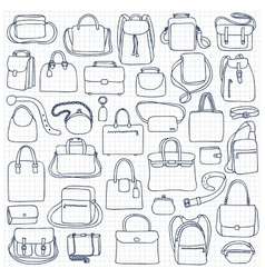 Woman and man bags set vector