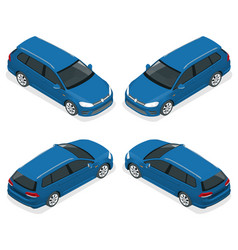 5-door hatchback car isolated isometric vector image