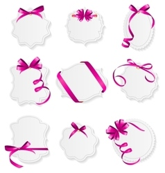 Card with Pink Ribbon and Bow Set vector image vector image