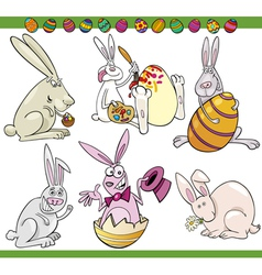 easter bunnies set cartoon vector image vector image