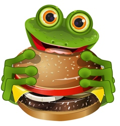 frog with cheeseburger vector image vector image