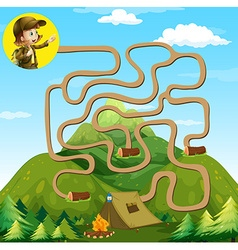 Game template with girl and camping site vector image vector image