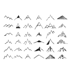 Mountain icons set Hand drawn vector image vector image
