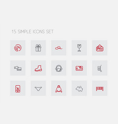set of 15 editable business outline icons vector image vector image