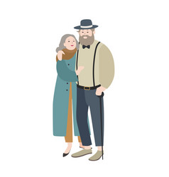 couple of old man and woman dressed in elegant vector image