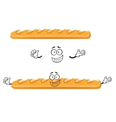 Funny cartoon french baguette bread vector image vector image