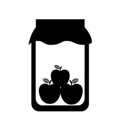mason jar with apples isolated icon vector image