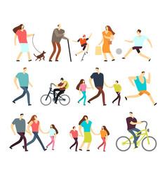 men and women walking outdoor cartoon vector image