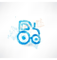 tractor grunge icon vector image vector image