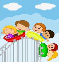 Cartoon kids riding roller coaster vector image