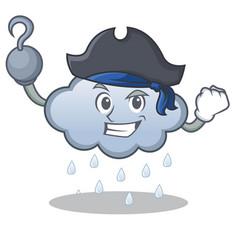pirate rain cloud character cartoon vector image