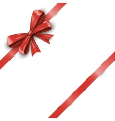 Red ribbon with bow isolated on white background vector image vector image